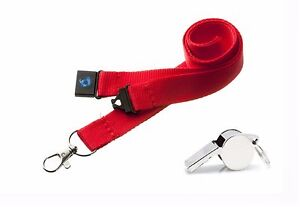 METAL REFEREE'S SPORTS WHISTLE & LANYARD - FREE SHIP - CHOOSE YOUR COLOUR