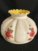 "Vintage GWTW 13 1/2"" Fitter Red Floral Melon Yellow Glass Hurricane  Lamp Shade"