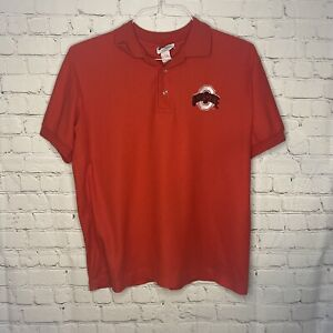 Vtg Midwest Embroidery Ohio State Buckeyes Golf Polo Mens L Scarlet Made in USA