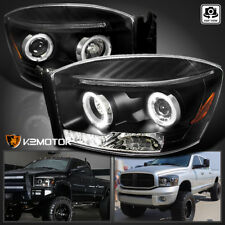 2006-2008 Dodge Ram 1500 06-09 2500 3500 Halo Black Projector Headlights Pair