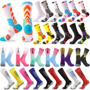 Mid Calf Sport Socks Anti-Slip Skid Basketball Football Breathable Training Sock