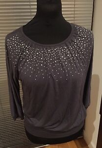 SPARKLY H&M GIRL'S GREY BLOUSON TOP WITH SPARKLES TOP AGE 12-14 BNWT