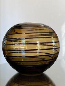GLASS SPHERE / ROUND VASE amber/brown/black