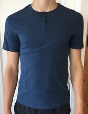 Lululemon Men's Size XS 5 Year Basic Short Sleeve Henley Blue MACB Button Metal