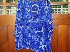 Mia Mea designer blue snakeskin square print 100% silk skirt size 12