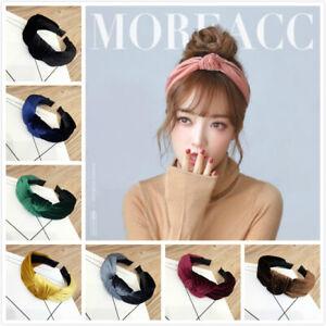 Women Bow Knot Cross Headband Twisted Hair Band Head Wrap Velvet Bow Headwear