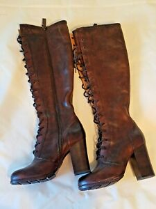 FRYE Womens Sz 5.5M Parker Lace Up Leather Tall Boots Brown EUC