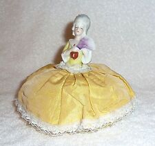 Vintage German Half Doll Lady Pincushion Marie Antoinette Germany Gold Yellow