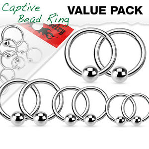 4 PAIR Value Pack 316L Surgical Steel Captive Bead Rings 14g, 16g, 18g or 20g