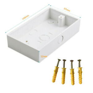 32mm Deep 2 Gang Double Surface Mount Pattress Back Box Wall Socket Plug Switch
