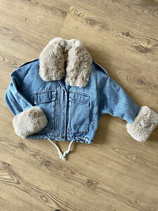 kids children's girls new denim jacket soft faux fur collar and cuffs 6-7 8-9 10