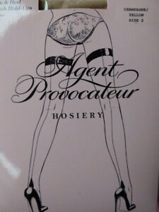 Agent Provocateur hold up stockings M sunshine yellow seam + heel NUDE new