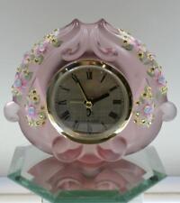 Fenton CLOCK Empress Rose Pink Satin PINK WILDFLOWERS Swarovski OOAK FREEusaSHIP