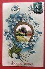 CPA. Bonne Année. Paysage. Fer à Cheval Doré. Fleurs Bleues. Gaufrée. Embossed.