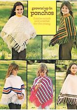 Girls Ponchos Vtg Knitting Crochet Patterns PATTERNS ONLY 24-30in DK/Aran/4-Ply