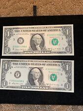 $1 CRISP UNC 1969 DOUBLE MATCH  FED. RESERVE NOTE #00003358