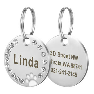Personalized Dog Tags Paw Rhinestone Pet Cat ID Name Tag Engraved Free Hair Bows