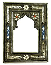 Moroccan Wall Mirror Large Authentic Home Decor Handmade Silver Brass White Blue