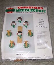 "Vintage Bucilla ""Snowman & Deer"" Jeweled Felt Christmas Napkin Ring Kit"