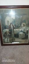 More details for vintage christian framed picture jesus turning water to wine
