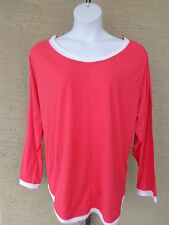 NEW Just  My Size L/S scoop neck Twofer Tee Top azalea/white 3X