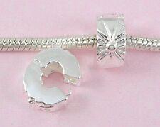 10pcs Silver Plated Clip Lock Stopper Beads Fit European Charm Bracelet K11