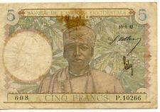 BILLET BANQUE AFRIQUE OCCIDENTALE 5 Frs 15-06-1942 P.10266 état voir scan