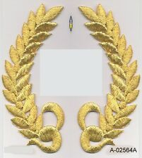 "5"" Metallic Gold Olive Branch Laurel Wreath Crest Embroidery Patch SCA"
