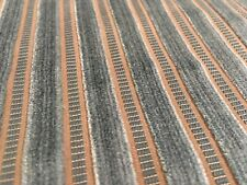 Lelievre Blue Cut Velvet Stripe Upholstery Fabric- Lahire Opale 4.0 yd 0642-04