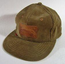 Levi's Leather Label Hat Corduroy Orange Tab Snapback Trucker Cap Brown Vintage