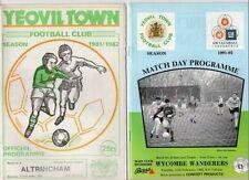 Teams S-Z Yeovil Town Football Non-League Fixture Programmes