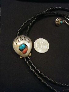 VTG Sterling Turquoise & Red Coral Bear Paw Bolo Tie