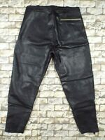 1960's German Leather Motorcycle Pants M Vintage Black Racing Breeches Rare