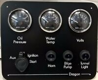 Narrowboat / Narrow Boat instrument panel waterproof gauges and switches 12/24V