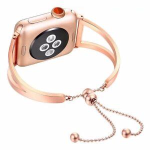 Rose Gold Wrist Band Bangle Cuff Bracelet for Apple Watch SE 40mm 44mm