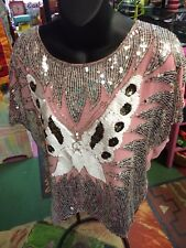 Pink Gold Who Sequined Butterfly tops blouses crop top Blouse Retro large L