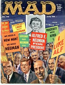 Mad   #56    July 1960    Alfred E. Neuman for President    FINE   See photos