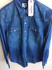 Levi's Men's Barstow Denim Western Snap-Up Shirt Dark Indigo Mens Small NWT $68