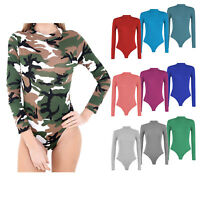 New Women's Ladies Long Sleeve Turtle Polo Roll Neck Bodysuit Top Sizes 8-26