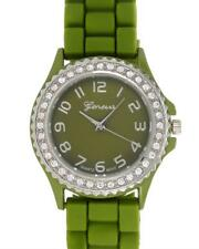 GENEVA Ladies Green Rubber Crystal Quartz Watch - BRAND NEW