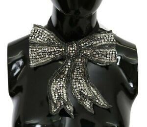 Dolce & Gabbana Nœud Papillon Cristal Argent Perlé Pailleté 100% Soie Catwalk