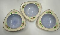 3 x Soho Pottery England Triangular Bowl, Solian Ware, Circa 1930 to 1944 B3