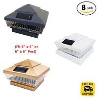 8 Pack Black/Copper/White 5 x 5 or 6 x 6 Solar Post Deck Cap Square Fence Light