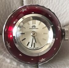 Vintage Ball Shape Pendant Watch Bucherer Swiss Enameled Red Keeps Exc Time