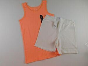 NWT Gap Girl's 2 Pc Outfit Tank Top Ribbed Orange/Tumbler Shorts 2XL (13 Yrs)