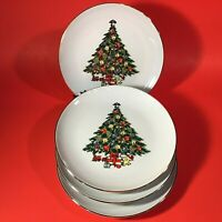 "JAMESTOWN CHINA CHRISTMAS TREASURE SALAD PLATES SET OF 4 CHRISTMAS TREE 7 3/4"""