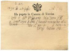 RICEVUTA CAMERA DI TREVISO 25/07/1798 BB+