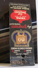 Rare Vintage Matchbook Cover S1 New York Seagram's Crown Blended Whiskey Liquor