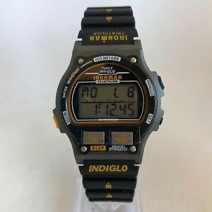 Vintage Timex Ironman Triathlon Mens Wrist Watch Indiglo 90's Digital 8 Lap Mint