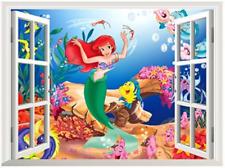 Ariel Little Mermaid Ocean Scene Wall Decal / Decorative Sticker Disney